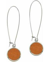 N'damus London - Silverdale Orange Leather & Steel Drop Earrings - Lyst