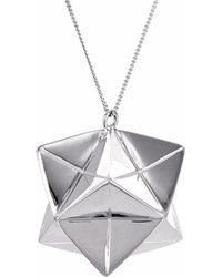 Origami Jewellery - Large Magic Ball Necklace Silver - Lyst