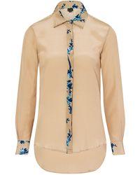 Sophie Cameron Davies - Beige Printed Classic Silk Shirt - Lyst