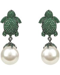 LÁTELITA London - Green Turtle Baroque Pearl Drop Earring Oxidised - Lyst