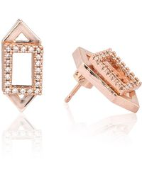 Astrid & Miyu | Rectangle Ear Jacket In Rose Gold | Lyst