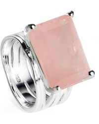 Neola - Pietra Sterling Silver Cocktail Ring With Rose Quartz - Lyst
