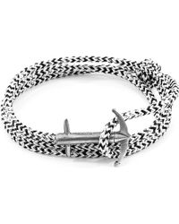 Anchor & Crew - White Noir Dundee Silver & Rope Bracelet - Lyst
