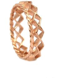 Annabelle Lucilla Jewellery - Mini Diamond Stacking Ring Rose Gold - Lyst