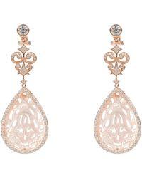 LÁTELITA London - Rosegold Medium Teardrop Carved Earring Mother Of Pearl - Lyst