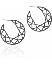 Myia Bonner - Black Brilliant Diamond Hoop Earrings - Lyst