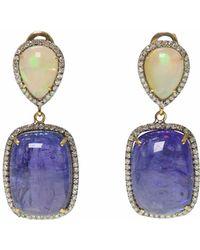Ri Noor - Opal Tanzanite & Diamond Earrings - Lyst