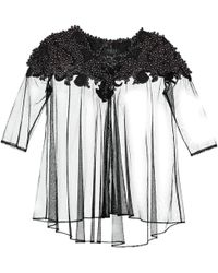 VEIL LONDON - Long-sleeve Black Transparent Pearl-embelished Top - Lyst