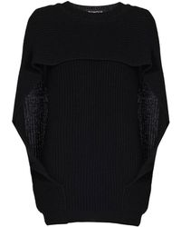 Rumour London - Cara Cape-effect Merino Wool Ribbed Knit Sweater - Lyst