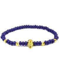 Clariste Jewelry - Men's Skull Bracelet Royal Blue & Gold - Lyst