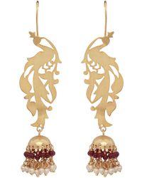 Carousel Jewels - Gold Peacock & Garnet Chandelier Statement Earrings - Lyst