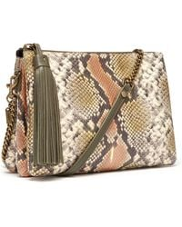 Thacker NYC - Ladybird Chain Clutch In Taupe Python - Lyst