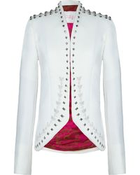 The Extreme Collection - White Studded Blazer - Lyst