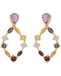 Carousel Jewels - Gold Multi Stone Hoop Earrings - Lyst