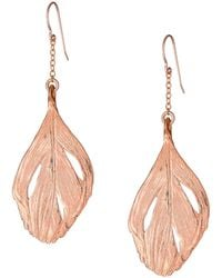 Chupi | Maxi Swan Feather Earrings Rose Gold | Lyst