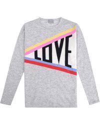 Orwell + Austen Cashmere - Love Rainbow Grey Sweater - Lyst