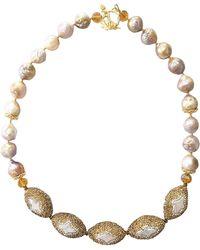 Farra - Freshwater Edison Pearls & Rhinestones Bordered Pearls Necklace - Lyst