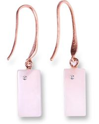 Ona Chan Jewelry - Rectangle Rose Quartz Earring With Swarovski - Lyst