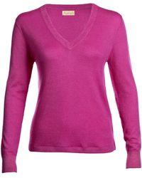 Asneh - Mathilda Fine Knit Cashmere V-neck Phlox Pink - Lyst