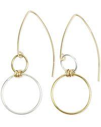 Alison Fern Jewellery - Faye Mismatched Silver & Gold Earrings - Lyst