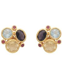 Carousel Jewels - Gold Gemstones Cluster Earrings - Lyst