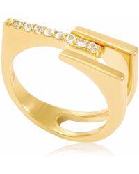 Neola - Neringa Gold Stacking Ring With White Topaz - Lyst