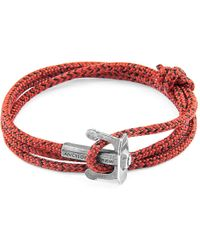 Anchor & Crew - Red Noir Union Anchor Silver & Rope Bracelet - Lyst
