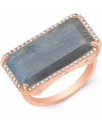 Anne Sisteron - Rose Gold Diamond Base Labradorite Ring - Lyst