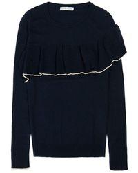 ILLE DE COCOS - Merino Ruffle Trim Sweater Navy & Gold - Lyst