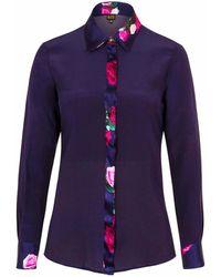 Sophie Cameron Davies - Midnight Blue Rose Silk Shirt - Lyst