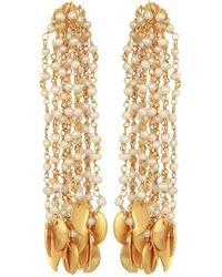 Carousel Jewels - Pearl & Gold Drops Waterfall Earrings - Lyst