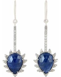 Meghna Jewels - Claw Linear Earrings Blue Sapphire & Diamonds - Lyst