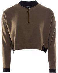 OKAYLA - Olive Sweatshirt With Zip - Lyst
