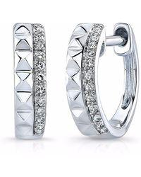 Anne Sisteron White Gold Spike & Diamond Huggie Earrings
