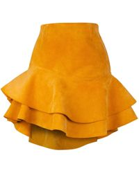 Siobhan Molloy - Lashes Tangerine Calf Suede Skirt - Lyst