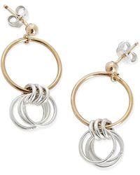 Alison Fern Jewellery - Lucy Gold & Silver Circle Stud Earrings - Lyst
