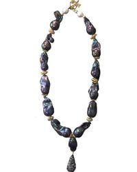 Farra - Nugget Purple Baroque Pearls & Amethyst With Pendant Necklace - Lyst