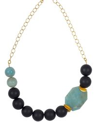 Magpie Rose - Green Amazonite & Black Onyx Statement Necklace - Lyst
