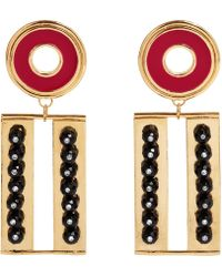 A. Carnevale - Get Cool Boy Earrings Gold Red & Black - Lyst