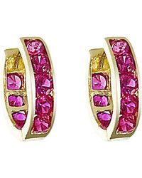 Talia Naomi | Hot Pink Pave Eternity Hoops | Lyst