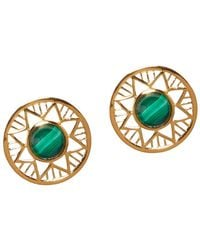 Alexandra Alberta - Yellow Gold Plated Chelsea Earrings With Malachite - Lyst