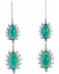Meghna Jewels | Double Drop Marquise Earring Green Chalcedony & Diamonds | Lyst