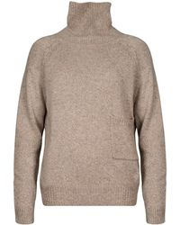 Paisie - Marl Beige Turtleneck Jumper With Side Pocket - Lyst
