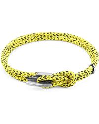 Anchor & Crew - Yellow Noir Padstow Silver & Rope Bracelet - Lyst