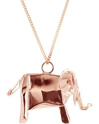 Origami Jewellery - Elephant Necklace Pink Gold Plated - Lyst