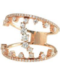 Talia Naomi - Tiara Ring Rose Gold White Diamond - Lyst