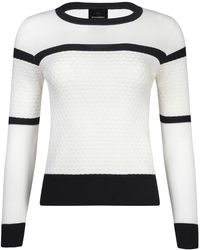 NY CHARISMA - White & Black Two Tone Knit Sweater With Textured Checker Pattern - Lyst