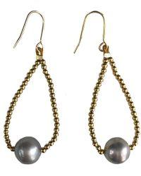 Farra - Grey Freshwater Pearls Tear Drop Earrings - Lyst