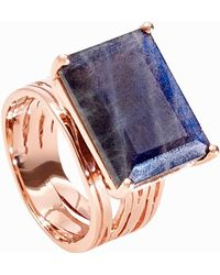 Neola - Pietra Rose Gold Ring With Labradorite - Lyst