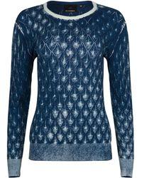NY CHARISMA - Blue Cotton Hand Print Diamond Pattern Pullover - Lyst
